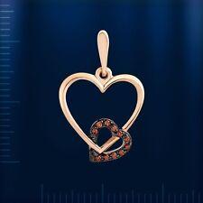 Russische Rose Rotgold 585 Anhänger mit braunen Diamanten Liebe Herzen Chic !