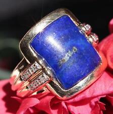 Designer John C Rinker 14k yellow gold 3.55ct lapis diamond size 6.25 ring 8.7gr
