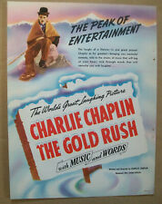 Charlie Chaplin 1942 Ad- The Gold Rush United Artists / 2 sided Ad