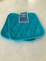 Classic Home 2 Potholders Pot Holders Aqua Bue Teal Cotton Quilted NEW