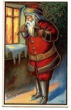 PERE NOËL.CHRISTMAS SANTA CLAUS.DORURE GILDING CARTE GAUFRéE EMBOSSED CARD