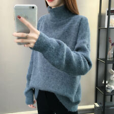 Women's Winter Warm Sweater Plush Solid Color Knitting Plush High Neck Sweater