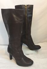 ALDO EL PASO Brown Leather Zip Up Knee High Boots Womens US 6.5 M EUR 37