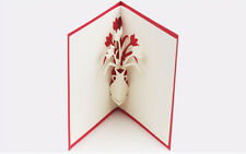 3D Pop Up Greeting Card flower Valentine's day Christmas Birthday postcards