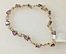 YELLOW GOLD 5 CT AMETHYST & DIAMOND TENNIS BRACELET