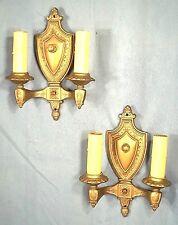 PAIR OF VICTORIAN ART NOUVEAU ART DECO GOLD METAL SHIELD BACK DOUBLE ARM SCONCES