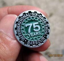 vintage biker INTERNATIONAL SIX DAYS TRIAL BARBOUR 75 YEARS PIN