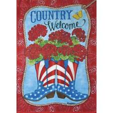 """""""Country Welcome"""" Cowboy Boots, Flowers Large Garden Flag 28"""" x 40"""""""