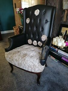 Fabulous Faux Leather Armchair with Champagne Velvet Seat & Button Flowers