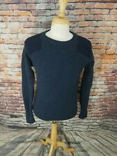 LL Bean Navy Ribbed Hunting Shooting Lambswool Elbow Patches Pullover Sweater L