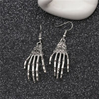Large Silver Skeleton Hand Bones Skull Earrings Dangle Halloween Accessory