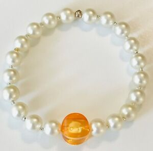 Handcrafted Pearl Bead & Golden Bead Stretch Bracelet