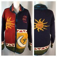 100% Wool Sweater~Coraza Craft~Cardigan~Full Zip~Chunky Knit~Sunburst~Size L/XL~