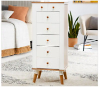 White Natural Wood Mid Century Modern Freestanding Jewelry Armoire Cabinet Chest