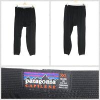 Patagonia Solid Black Capilene Baselayer Thermal Pants Leggings USA Made - 2XL