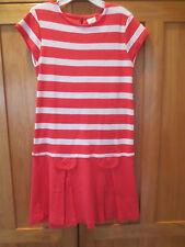 Girl GYMBOREE CORAL ORANGE AND WHITE STRIPED COTTON Dress EUC 8