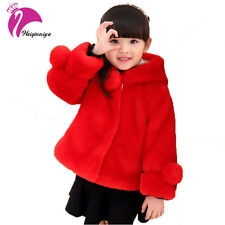 Girls Winter Faux Fur Coat Fashion Design Hooded Thick Warm Kids Outwear