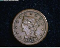 1850  Braided Hair Large Cent 1c old penny  ( 38s138 )