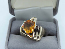 Genuine Oval Citrine Solitaire Ring in Contemporary Setting - 14K Yellow Gold