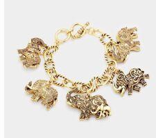 Elephant Charm Chunky Chain Gold Cuff Bracelet Bangle Metal Costume
