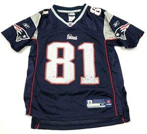 Reebok Players Randy Moss New England Patriots Football Jersey Youth Medium Blue