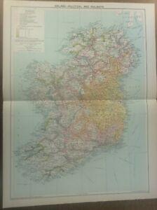 Vintage Antique 1939 Philips Map 20x15 Ireland RAILWAYS & Political