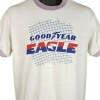 Goodyear Eagle Tires T Shirt Vintage 80s Ringer Tee Made In USA Size Large