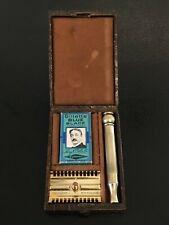 Lovely Vintage Gillette 'NEW' Safety Razor w/ Crocodile Skin Leather Case