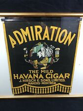 Antique Admiration Havana Cigar Cloth Banner Flag Sign J. Hirsch Montreal c1900s