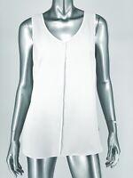 Cabi Sz Medium Domino Blouse White Black Mesh Back Detail Sleeveless Style 3076