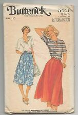 BUTTERICK 5441 MISSES TOP & SKIRT SEWING PATTERN SZ 10  VTG