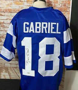 Roman Gabriel LA Rams Signed Custom Blue Jersey Black JSA COA