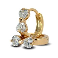 Young Girls 18ct Gold Filled Heart Hoop Earrings Cubic Zirconia 18K GF CZ BE967