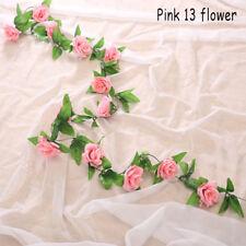 Fashion Artificial Silk Rose Flower Ivy Vine Garland Wedding Party Home Decor Pink 13 Flower
