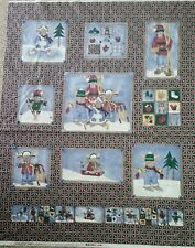 MOOSE ON LOOSE WINTER SPORTS CHRISTMAS CHEATER QUILT WALL HANGING PANEL FABRIC