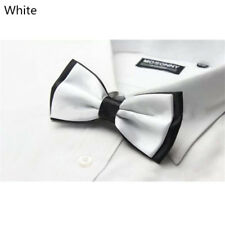 Smart Bow Tie Neck Mens Clip-on Satin White Dickie Fancy Dress Wedding Solid New