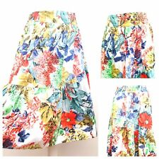 Zara Ladies Blue Red Floral A-Line Flared Skirt Wedding Party Work Size Small 10