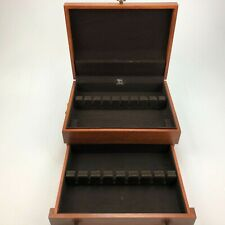 Vintage Eureka wood flatware chest with drawer