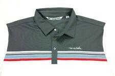 Travis Mathew White Gray Block Stripe Stretch Mesh Golf Polo Shirt Large