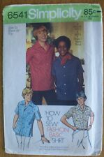 SIMPLICITY 6541 SZ 10 BOYS' SHIRT PATTERN & LESSON CHART HOW TO MAKE A COLLAR