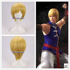 DOA Dead Or Alive ELIOT Short Yellow Blonde Cosplay Wig + free wig cap