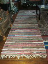VERY LONG MULTI COLOURED RECYCLED COTTON RAG RUG RUNNER 75 X 240cm