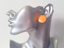 "1 pair of big & fab PEACH 1"" flat plastic button style stud earrings - NEW"