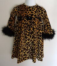 Kashten Baby Girl 18 Months Dress Leopard Velour Feather Boutique Holiday