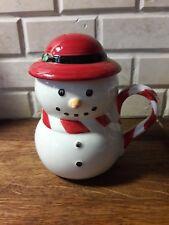 Williams Sonoma Holiday Snowman Mug With Lid Coffee Hot Chocolate Tea Christmas