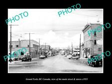 OLD LARGE HISTORIC PHOTO OF GRAND FORKS BC CANADA, THE MAIN ST & STORES c1955