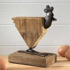 Large Natural Wood Farmhouse Rooster Ornament on Wood Base LAST ONE REDUCED