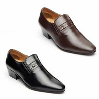 MENS LUCINI BLACK,BROWN LEATHER SMART FORMAL SLIP-ON CUBAN HEEL SHOES 29779