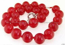 "Rare Handmade 14mm Natural Red Jade Gemstone Round Beads Necklace 18"""