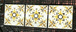 "Vintage ONDA Espana Spain Hand Painted White Black Yellow 6"" X 6"" Ceramic Tiles"